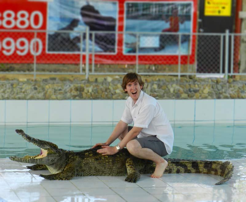 Tommo Sitting on a crocodile