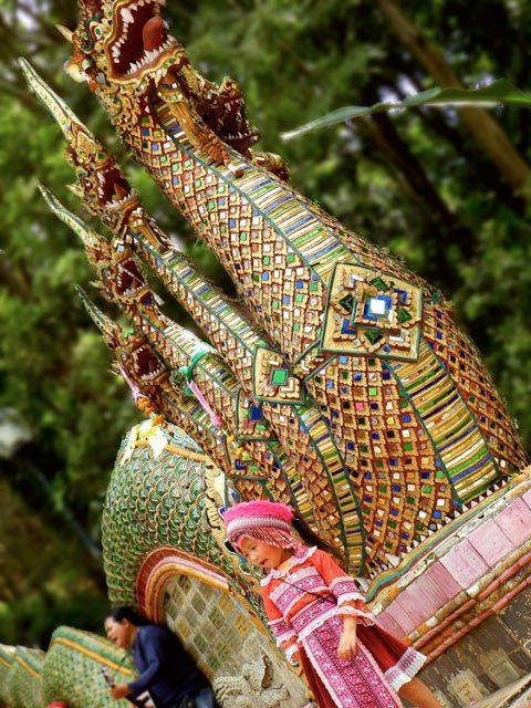 Girl on Dragon Steps at Wat Doi Suthep