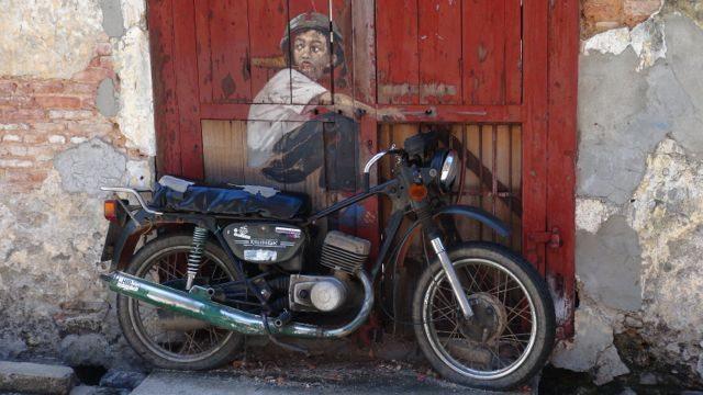Street art penang motorbike