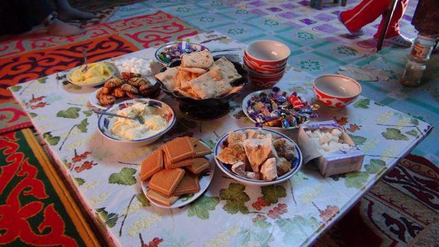 Typical Mongolian Breakfast Spread