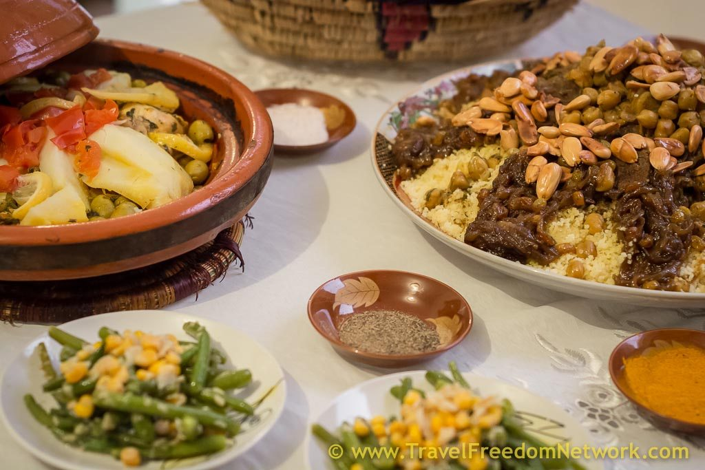 Tagine and cous cous at cooking class Essaouira Morocco: Essaouira guide