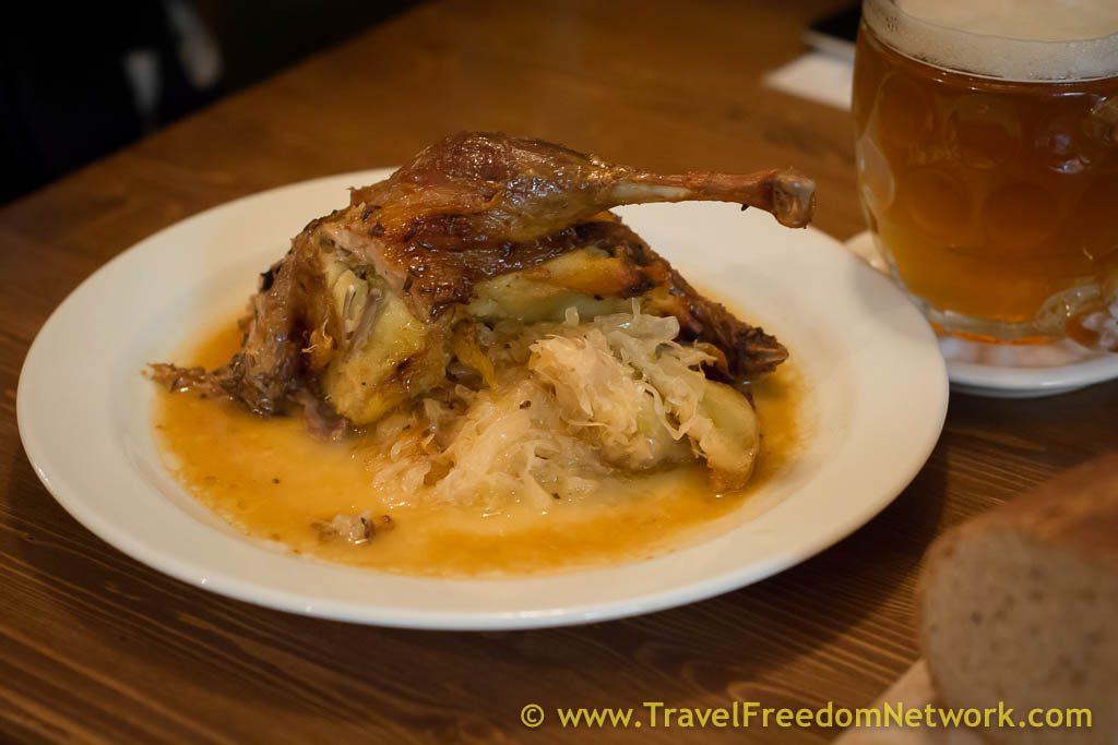 Duck stuffed with potato pancake - Prague