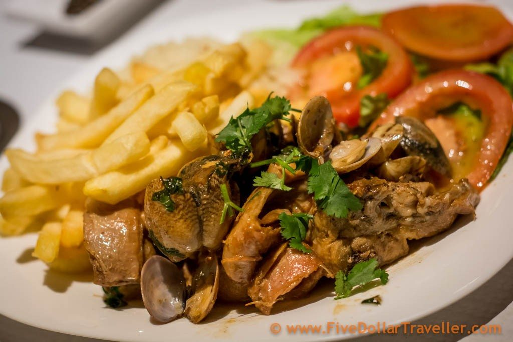 foods around the world - Rabbit and clams Portuguese food