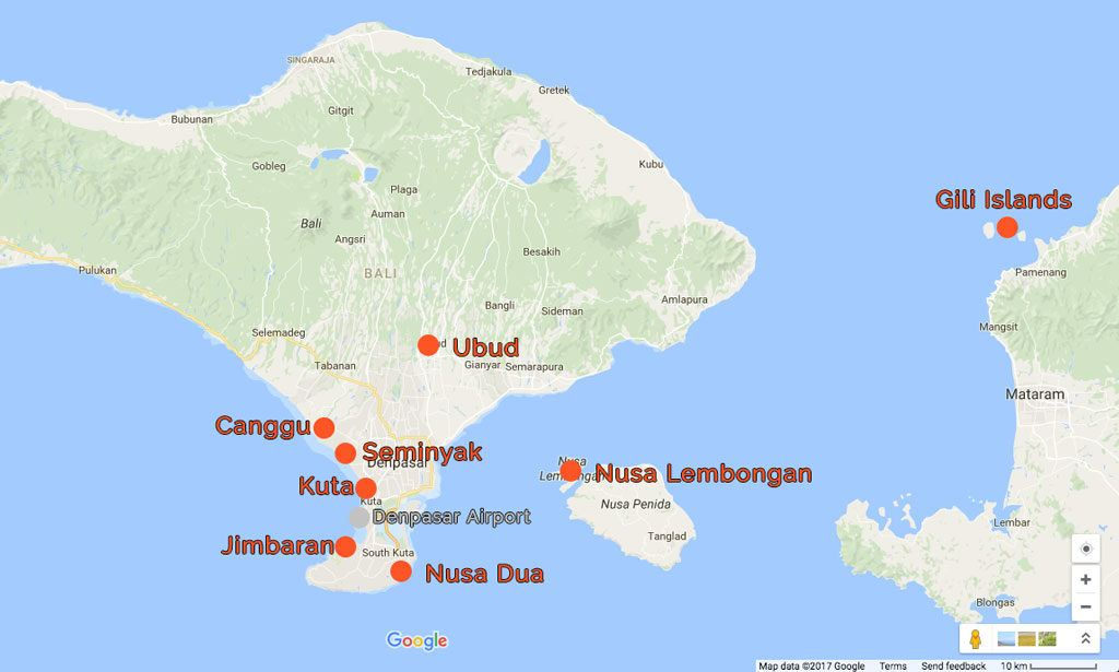 Best areas to stay in Bali map