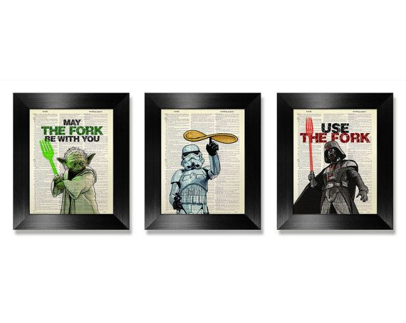 Star Wars Kitchen Poster Set of 3 Prints - Christmas Gift Ideas for Foodies