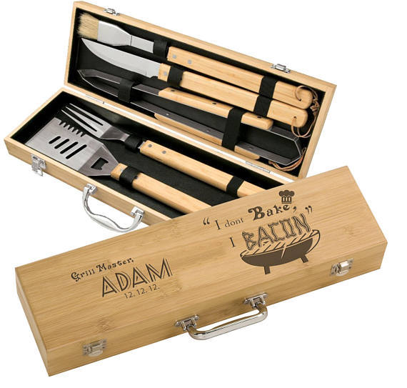 Personalized Grill Master Bamboo 5 piece BBQ Gift Set - Foodie Gifts For Men