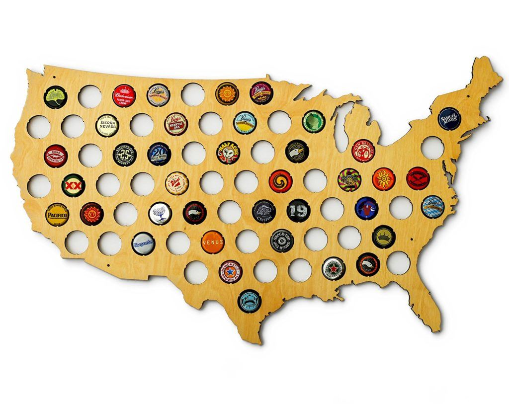 USA Beer Cap Map - Food Gifts For Men