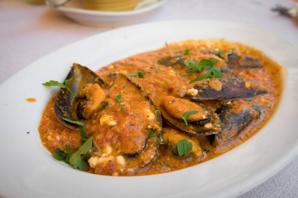 What To Do In Corfu / Corfu Town Restaurants / Corfu Greece Map: Mussels Saganaki @ Bellissimo