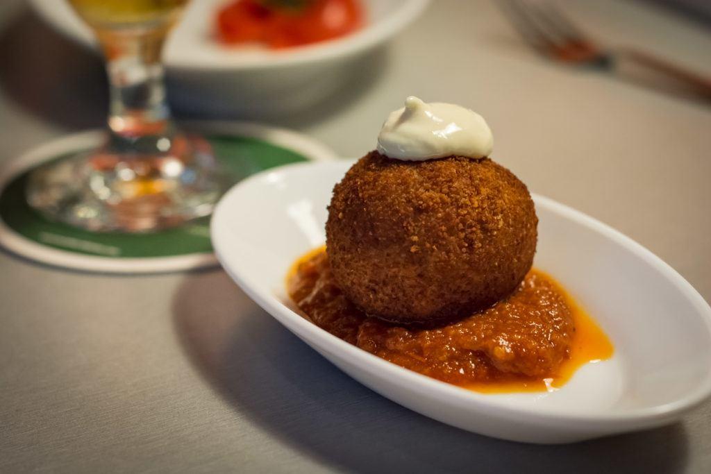 Spanish Tapas Dishes: La Bomba (Bomb) in Barcelona @ L' Anxoveta