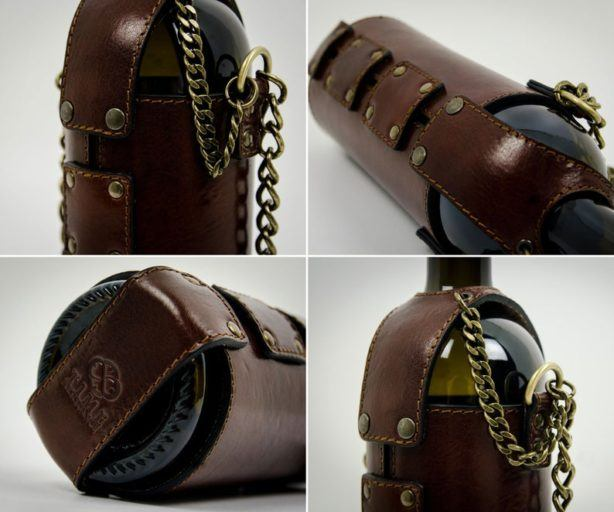 leather wine bag - - unique food gifts - gourmet food gifts